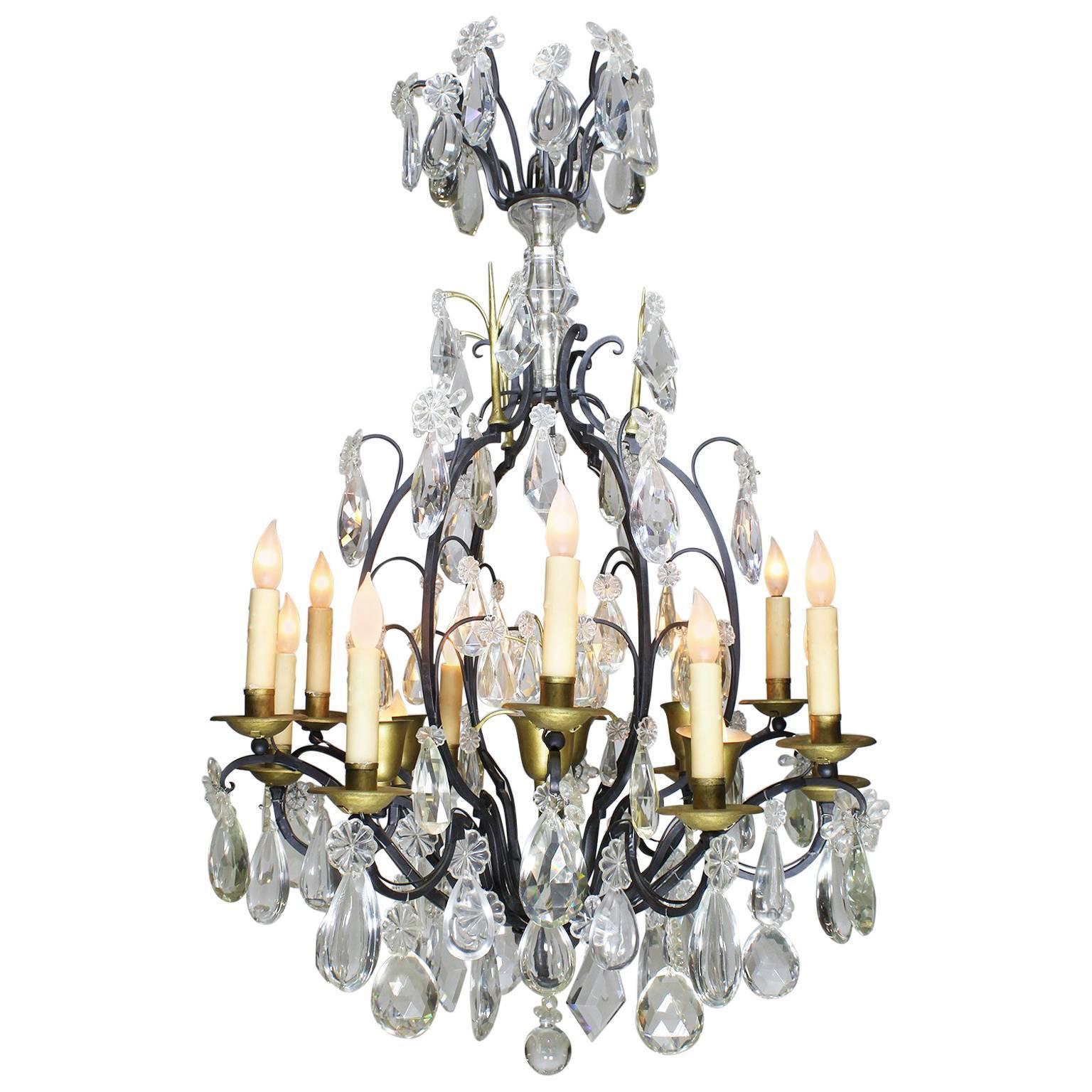 19th-20th Century Louis XV Style Wrought Iron Eighteen-Light Crystal Chandelier