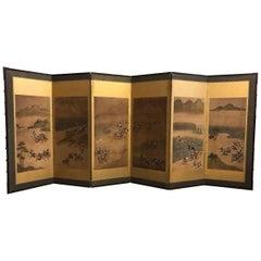 Six-Fold Japanese Screen with Samurai