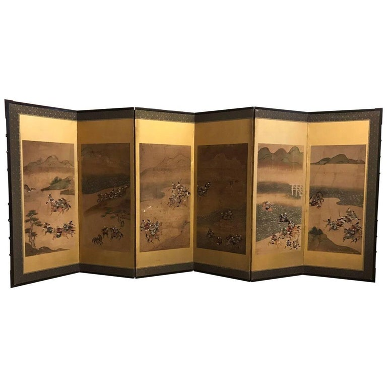 Six-Fold Japanese Screen with Samurai For Sale