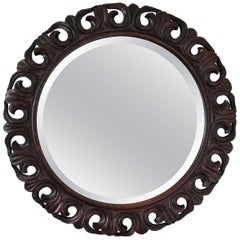 Round Mirror Carved Pierced Oak Frame Jackobean Style Bevel Glass