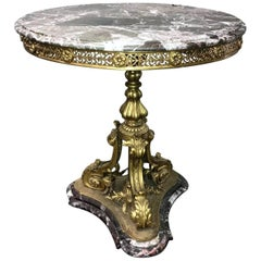 Antique French Rococo style bronze and marble table, circa 1900