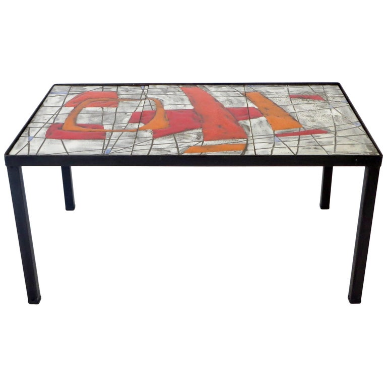 French Ceramic Side Table by Freres Cloutier, Jean and Robert Cloutier For Sale