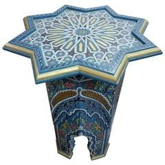 Welja Moroccan Carved Star Table, Cedar Wood