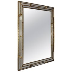 Art Deco Gilded Wooden Paneled Mirror