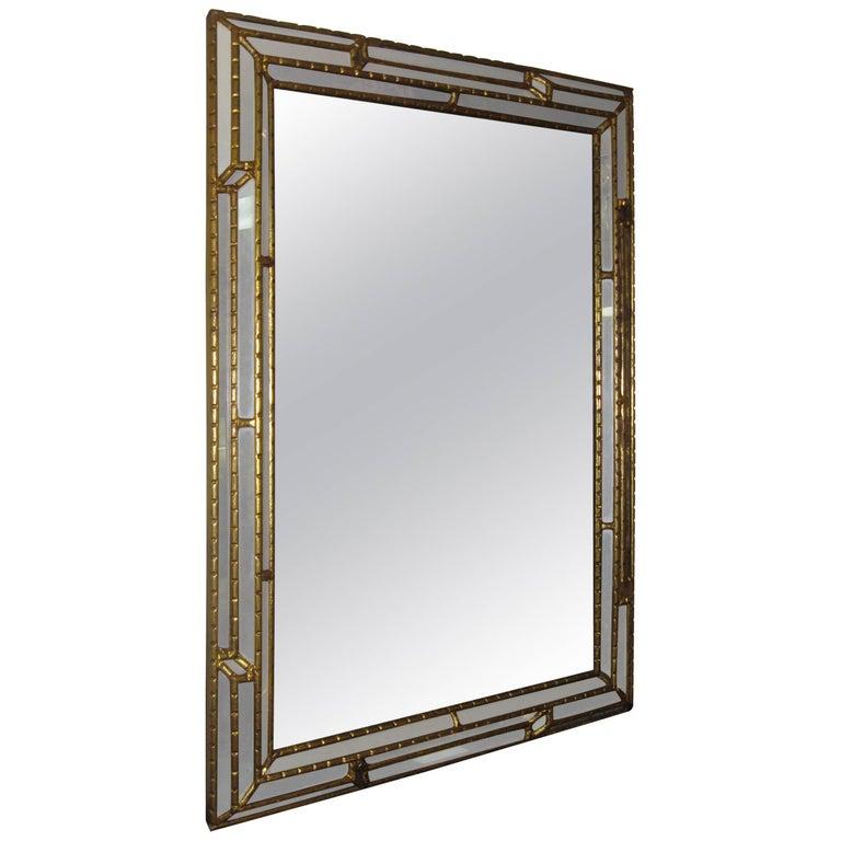 Art Deco Gilded Wooden Paneled Mirror