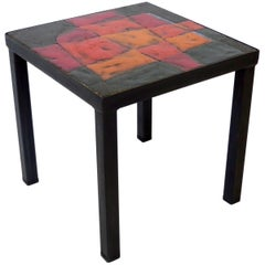 French Ceramic Side Table by Freres Cloutier, Jean and Robert Cloutier