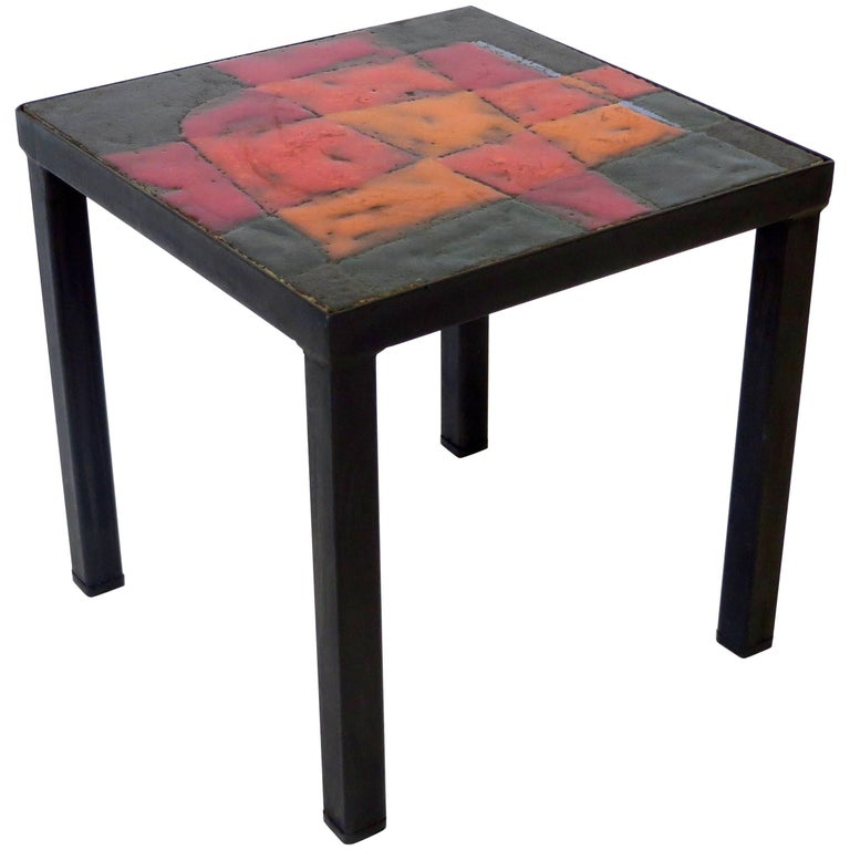 Jean and Robert Cloutier French Ceramic Side Table Freres Cloutier,  For Sale