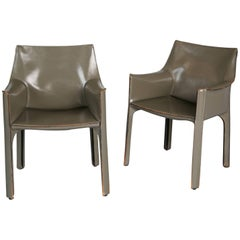 Mario Bellini Pair of Grey Leather Cab Armchairs for Cassina, Italy