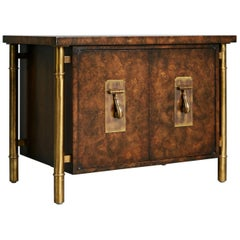Mastercraft Burled Wood & Brass Side or End Table by William Doezema, circa 1960