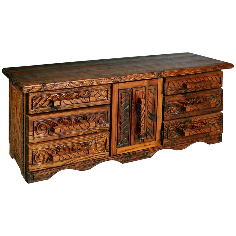 William Westenhaver For Witco Exotic Carved Wood Sideboard