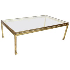 French Maison Ramsay Gilded Iron and St. Gobain Glass Plateau Coffee Table
