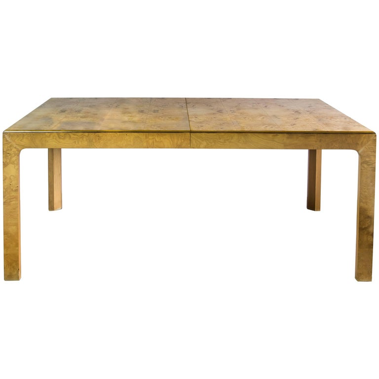 Wood Dining Table For Sale: 1970s Henredon Burl Wood Parsons Dining Table For Sale At