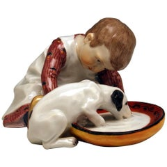 Meissen Hentschel Child Boy Figurine with Drinking Dog Model W 123, circa 1905
