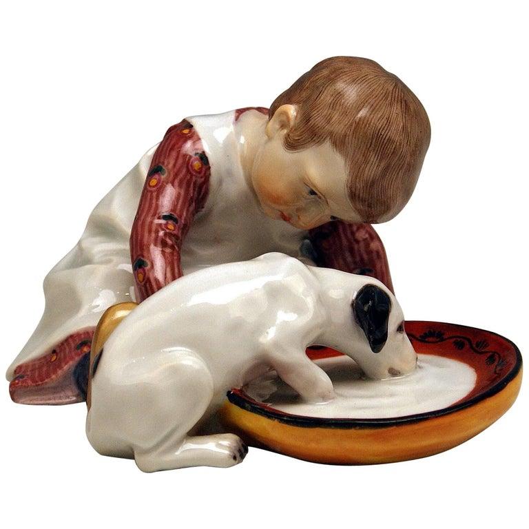 Meissen Hentschel Child Boy Figurine with Drinking Dog Model W 123, circa 1905 For Sale