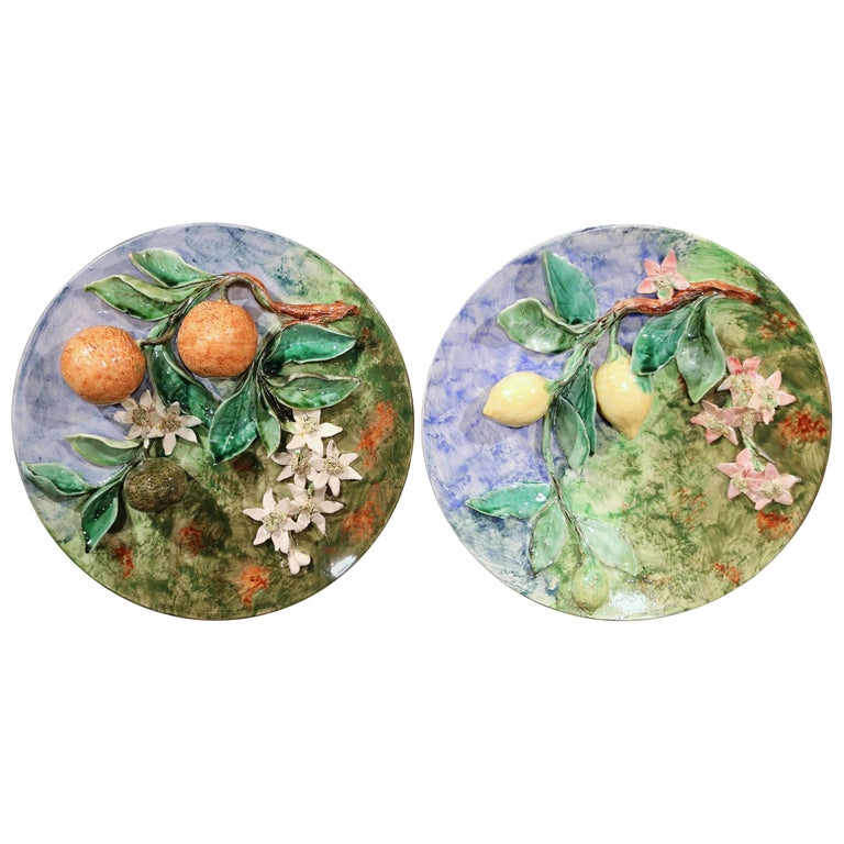 Pair of 19th Century French Hand-Painted Barbotine Wall Plates Stamped Longchamp