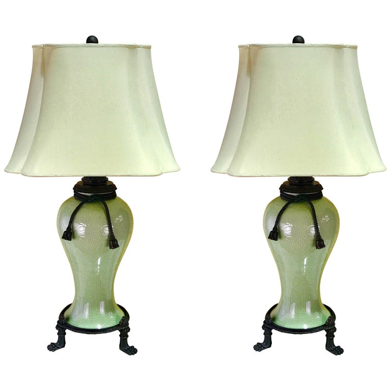 Large Pair of Chinese Celadon Bronze-Mounted Lamps