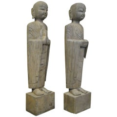 Pair of Asian Carved Hard Stone Lohan Figure Sculptures