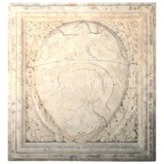 Early 19th Century Italian Crest in Biancone Marble