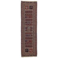 Vintage Soumak Persian Runner with Tribal Style, Flat-Weave Hallway Runner