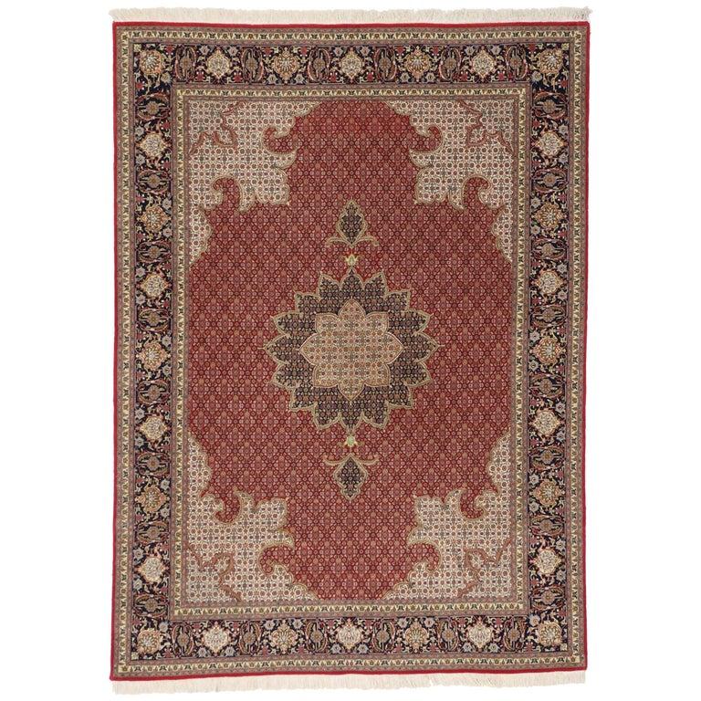 Vintage Persian Tabriz Rug with Mahi Design and Traditional Style