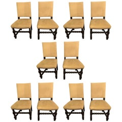 Set of Ten English Tudor Jacobean Style Dining or Side Chairs