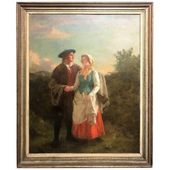 Hugh Cameron, Oil on Canvas Painting, Lad and Lass, circa 1860