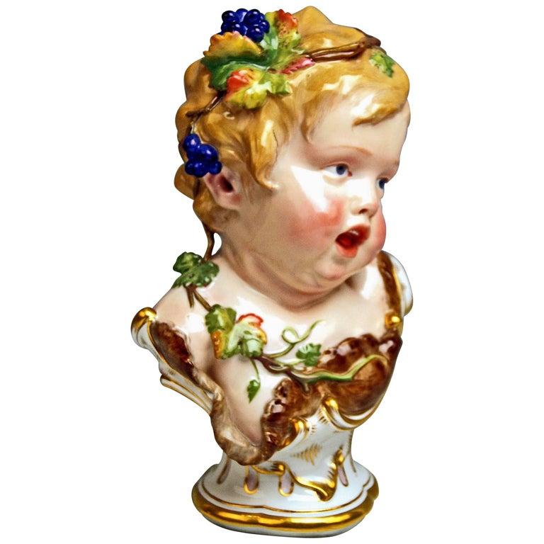 Meissen Child Bust Season Figurine Autumn Fall Model K 177, Schwabe, circa 1880 For Sale