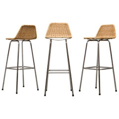 Set of Three Charlotte Perriand Style Bar Stools