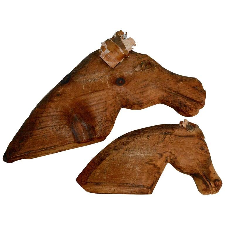Folk Artist John B. Wikoff, Pair of Cedar Horse Sculptures