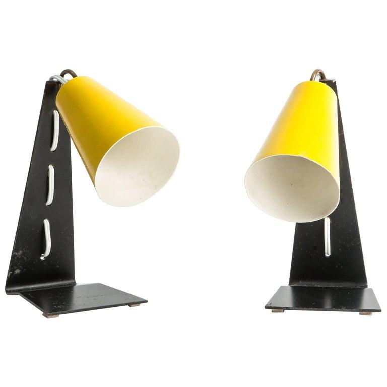 "Pair of ""Hook"" Modernist Table Lamps, J.T. Kalmar"