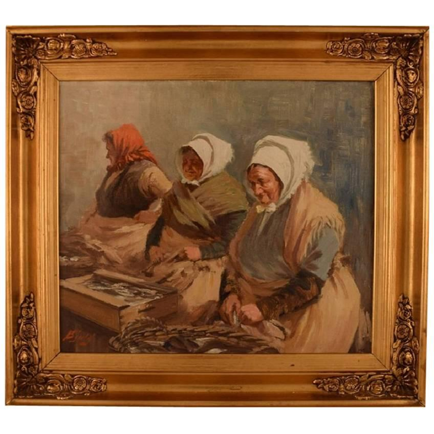 S. C. Bjulf 'Fishermen's Wives,' Well Listed Danish Artist, Oil on Canvas