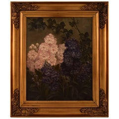 E. C. Ulnitz, Pink and Purple Stocks, Well Listed Danish Artist, Oil on Canvas