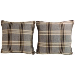 Pair of Vintage Tartan Woven Wool Decorative Pillows