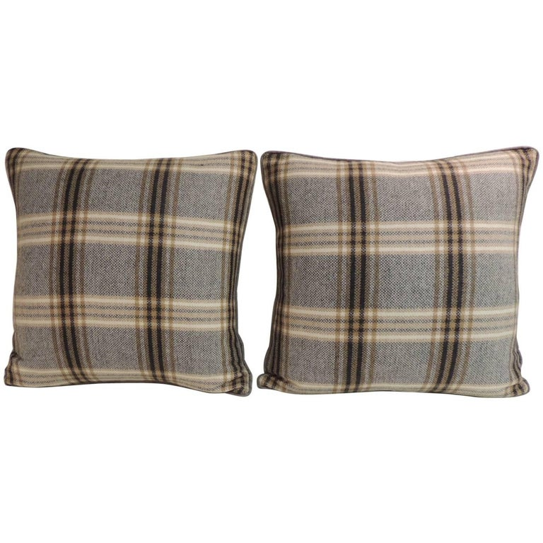 Pair of Vintage Tartan/Plaid Woven Wool Decorative Pillows