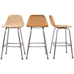 Set of Three Charlotte Perriand Style Counter Stools