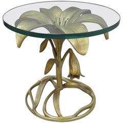 Arthur Court Lily Leaf Gold Flower Side End Table Round Glass Top Cast Aluminum
