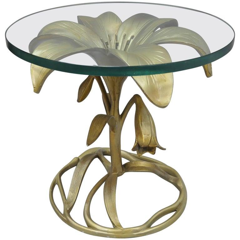 Arthur Court Lily Leaf Gold Flower Side End Table Round Glass Top Cast Aluminum