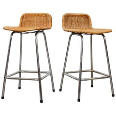 Pair of Charlotte Perriand Style Counter Stools