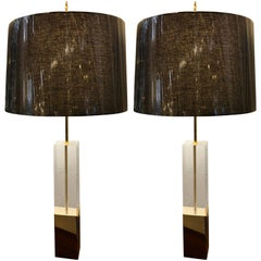 Pair of Mid-Century Modern Brass and Lucite Tall Table Lamps