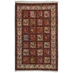 Vintage Persian Soumak Rug, Flat-Weave Rooster Rug