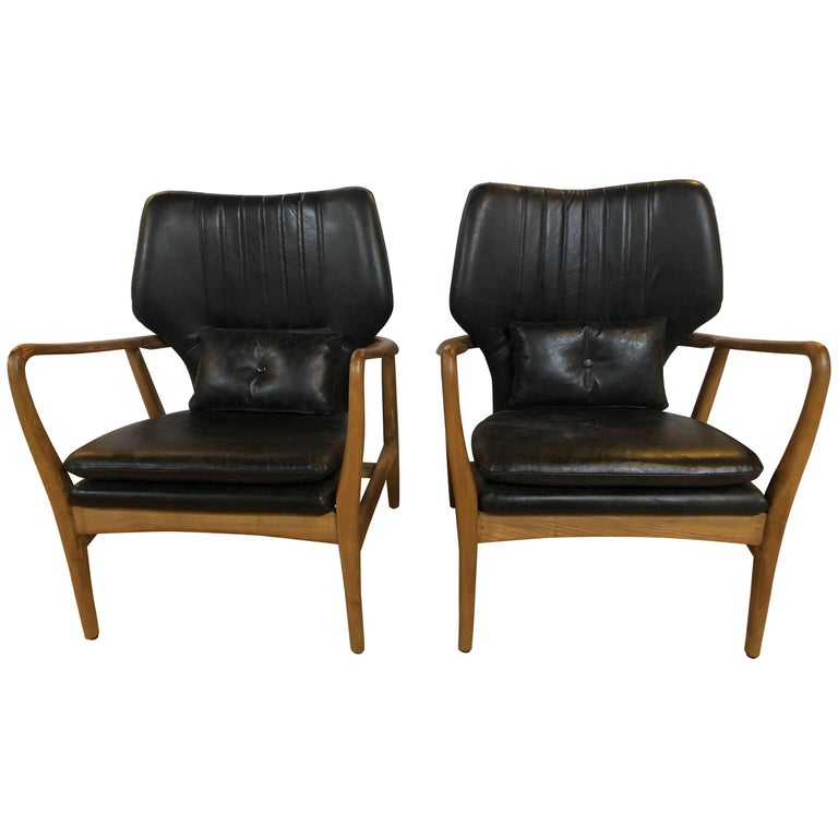 Pair of Mid Century Modern Style Arm Chairs with Black Leather Upholstery