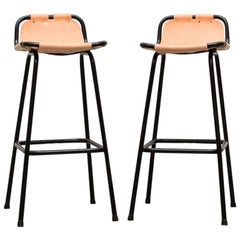 Pair of Charlotte Perriand Style Leather Bar Stools