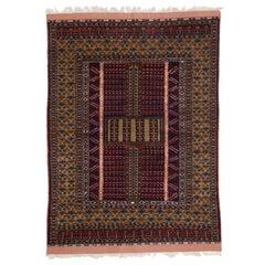 Vintage Afghan Turkoman Tribal Ersari Engsi, Hatchli Tent Door Hanging Ensi
