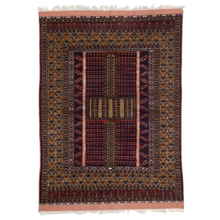 Mid-Century Modern Style Vintage Afghani Rug With Tribal