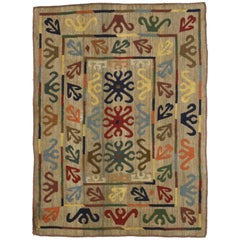 Vintage Afghan Embroidered Suzani Kilim Rug with Modern Tribal Style