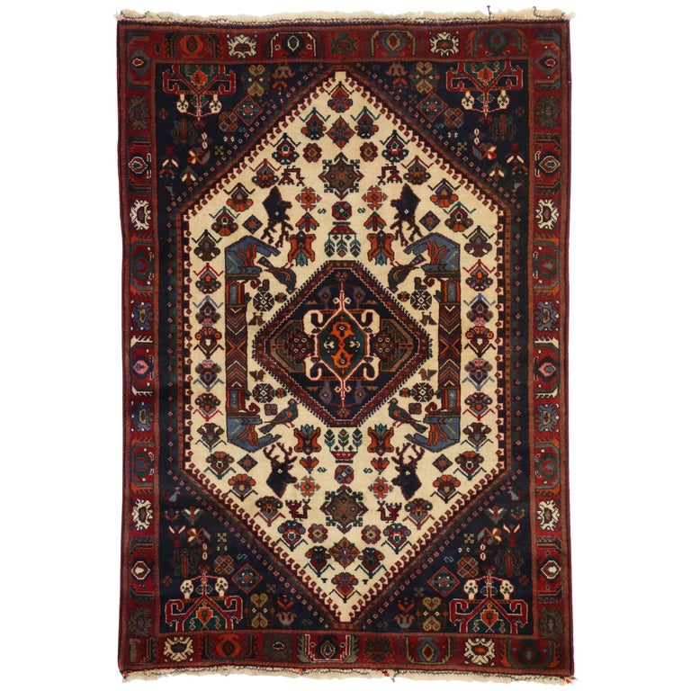 Vintage Persian Shiraz Rug with Modern Tribal Style