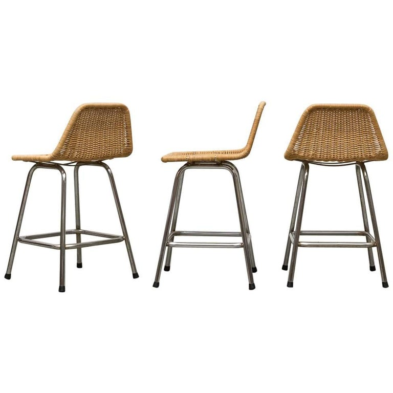 Set of Three Short Charlotte Perriand Style Stools
