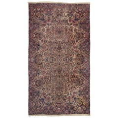Antique Persian Kerman Rug, Persian Kirman Gallery Rug with Traditional Style