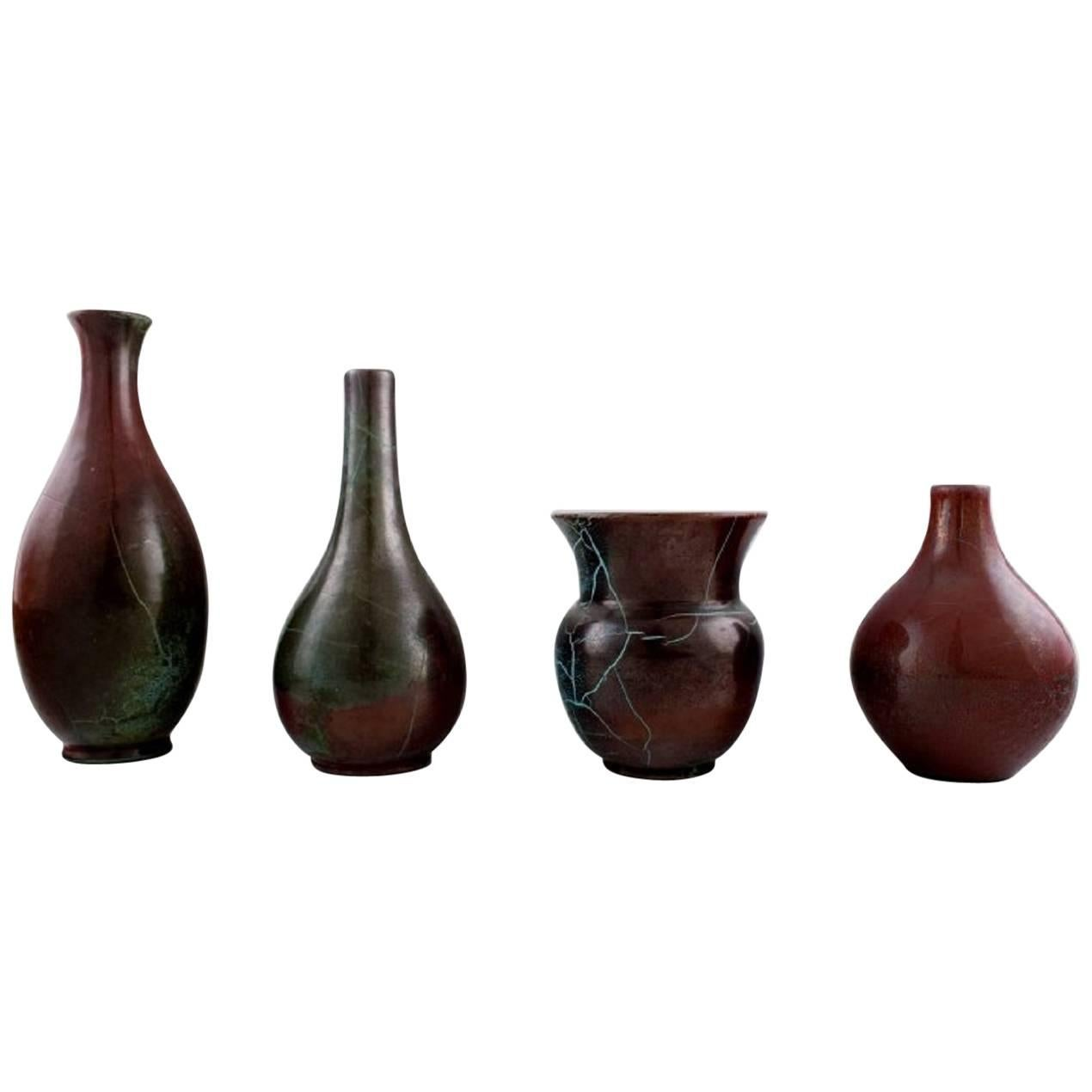Richard Uhlemeyer, German Ceramist, Four Ceramic Vases, Beautiful Glaze