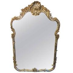 Vintage La Barge Antiqued Silver Mirror, Great Design Carved Shell, Floral